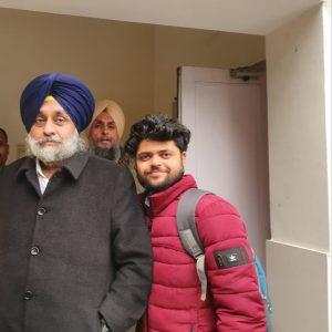 Sahil Kashyap with Sukhbir Singh Badal