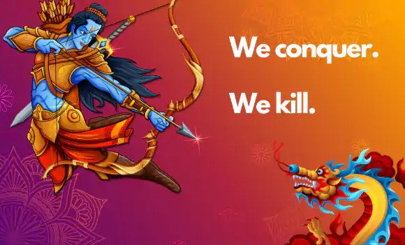 Lord Rama poised to slay China's Dragon